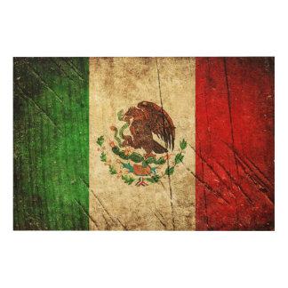 Het verontruste Land markeert   Mexico Hout Afdruk
