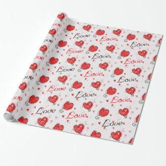 Het verpakkende document van de liefde met harten inpakpapier