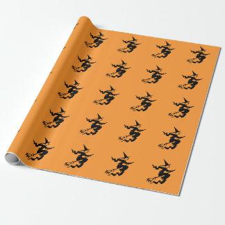 Het verpakkende document van Halloween met heks op Inpakpapier