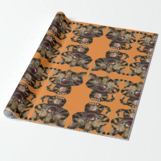 Het verpakkende document van het oranje tijgerkat inpakpapier