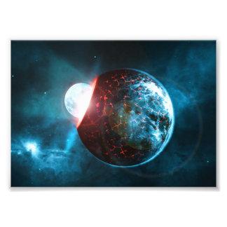 Het Verpletteren van de aarde en van de Maan de Foto Afdrukken