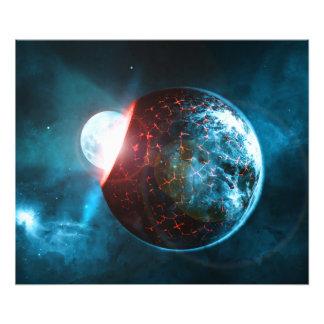 Het Verpletteren van de aarde en van de Maan de Foto Prints