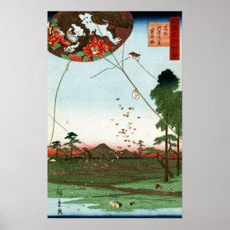 Het Verre uitzicht van Hiroshige van Utagawa van Poster