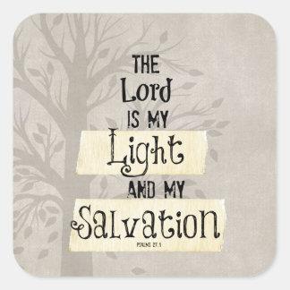 Het Vers van de bijbel: Lord is mijn Licht en mijn Vierkante Sticker