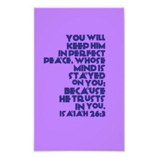 Het Vers van de bijbel op fotodocument het 26:3 Foto Afdruk