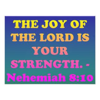 Het vers van de bijbel van 8:10 Nehemiah. Foto Afdruk