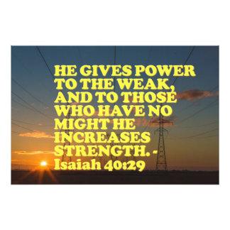 Het vers van de bijbel van het 40:29 van Isaiah. Foto Afdruk