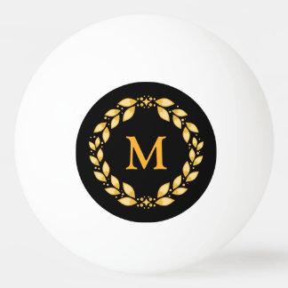 Het versierd Gouden Leaved Roman Monogram van de Pingpongbal