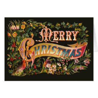 Het versierd Vintage Wenskaart van Kerstmis