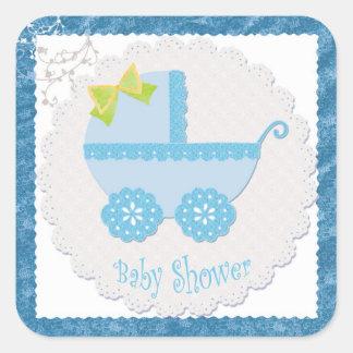 Het Vervoer van het baby het is een Jongen! De Vierkante Stickers