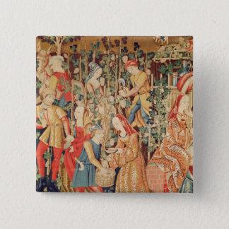 Het verzamelen van Druiven, detail van de Oogst Vierkante Button 5,1 Cm