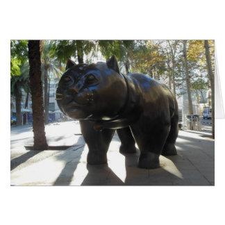 Het vette Beeldhouwwerk van de Kat in Barcelona Notitiekaart