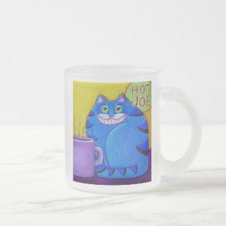 Het vette Blauwe Art. van de Kat van de Koffie van Matglas Koffiemok