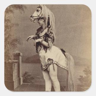 Het Victoriaans Kostuum Daguerreotype van het Vierkante Sticker