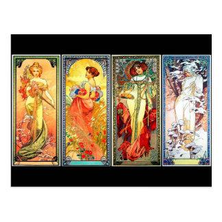 Het vier 3de reeksen vintage briefkaart Mucha van  Wenskaarten