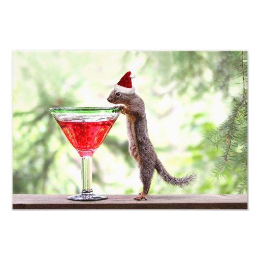 Het Vieren van de eekhoorn Kerstmis Foto Prints