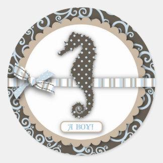 Het Vierkant van de Jongen van het Baby van Ronde Stickers