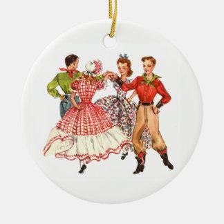 Het vierkante Dansen Rond Keramisch Ornament