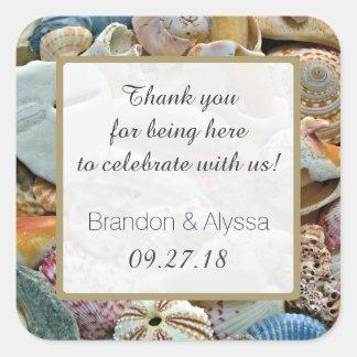Het vierkante Huwelijk van het Strand dankt u Vierkante Sticker