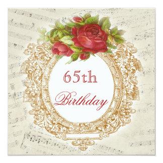 Het vintage 65ste Rood van de Verjaardag nam het 13,3x13,3 Vierkante Uitnodiging Kaart