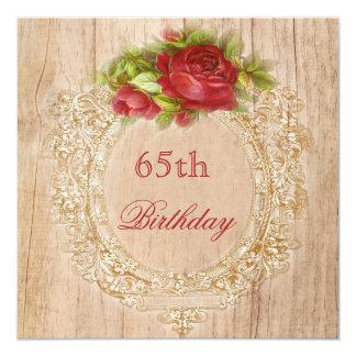 Het vintage 65ste Rood van de Verjaardag nam 13,3x13,3 Vierkante Uitnodiging Kaart