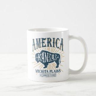 Het vintage Americana Logo van de Bizon van Koffiemok