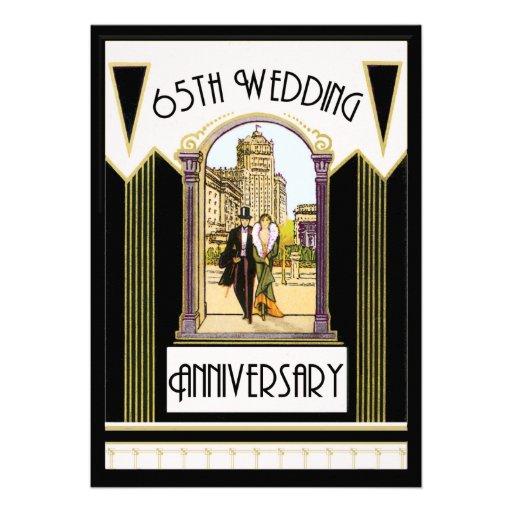 Het vintage art deco koppelt het 65ste jubileum 12 7x17 8 uitnodiging kaart zazzle - Deco van de gang ...