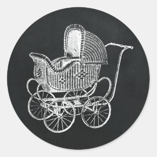 Het vintage Baby shower van het Vervoer van het Ronde Sticker