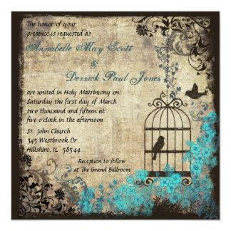 Het vintage Blauw van de Uitnodiging van het