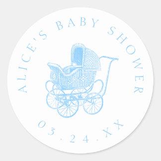 Het vintage Blauwe Baby shower van het Vervoer van Ronde Sticker