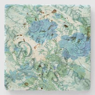 Het vintage Blauwe Bloemen Franse Patroon van het Stenen Onderzetter