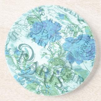 Het vintage Blauwe Bloemen Franse Patroon van het Zandsteen Onderzetter