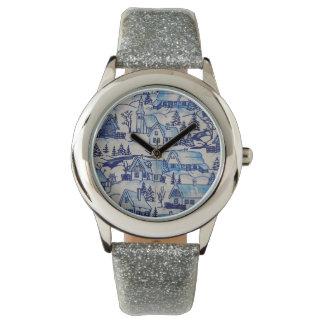 Het vintage Blauwe Dorp van de Vakantie van Horloge