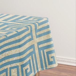 Het vintage Blauwe Patroon van de Meander van de Tafelkleed