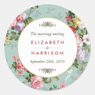 Het vintage Bloemen Botanische Huwelijk van de Ronde Sticker