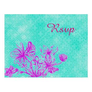 Het vintage BloemenBriefkaart van het Huwelijk Briefkaart