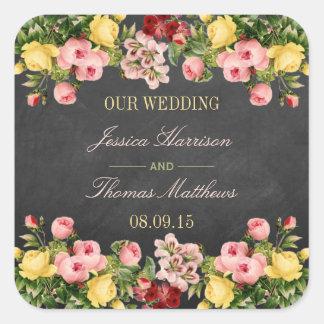 Het vintage BloemenCollectie van het Huwelijk van Vierkante Sticker