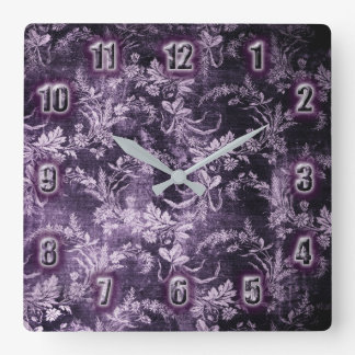 Het vintage bloemenpatroon van Grunge in koele Vierkante Klok