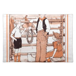 Het vintage Boek die van het Kind - aan de Cowboy Placemat
