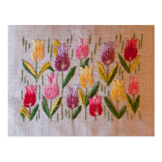 Het vintage borduurwerk van tulpen briefkaart