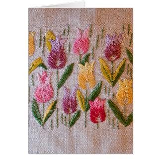 Het vintage borduurwerk van tulpen kaart