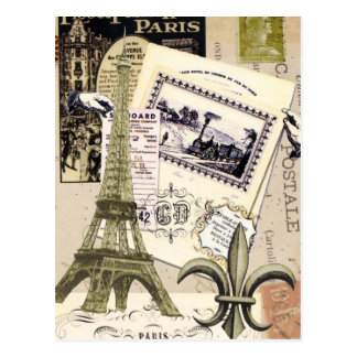 Het vintage briefkaart van de Collage van Parijs… Wenskaart
