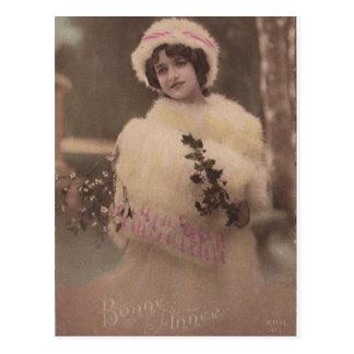 Het vintage Briefkaart van de Winter van Bonne