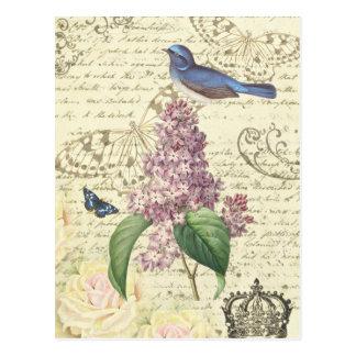 Het vintage briefkaart van Girly met vogel en