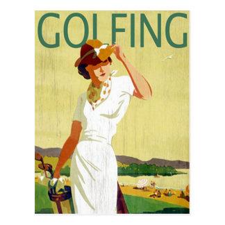 Het vintage Briefkaart van Golfing van de dame