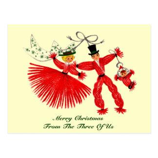 Het vintage Briefkaart van Kerstmis van de Familie