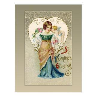 Het vintage Briefkaart van Valentijn van de Cupido