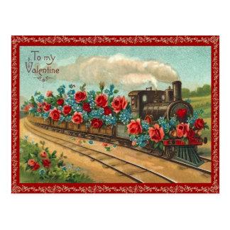 Het vintage Briefkaart van Valentijn van de Trein
