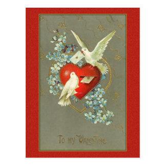 Het vintage Briefkaart van Valentijn van de Vogels