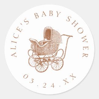 Het vintage Bruine Baby shower van het Vervoer van Ronde Sticker